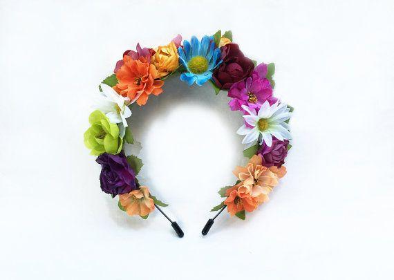 Frida fleur couronne, couronne de fleur, Costume de Frida Kahlo, Day of the Dead, mexicains, arc-en-ciel, serre-tête, bandeau Floral, Fiesta, Boho de fleurs