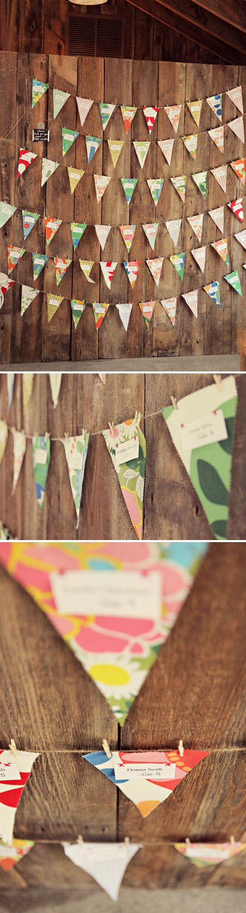 pennants. I was thinking people could write their wishes on the blank spots, so I could hang them each year on my wedding day...