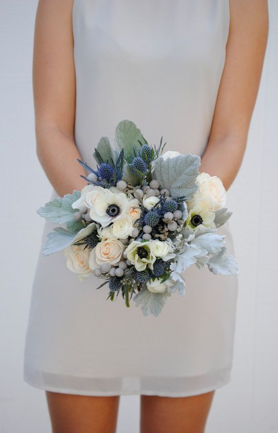 Navy Blue Wedding Flower Package Dusty Blue by KukkaFlowers