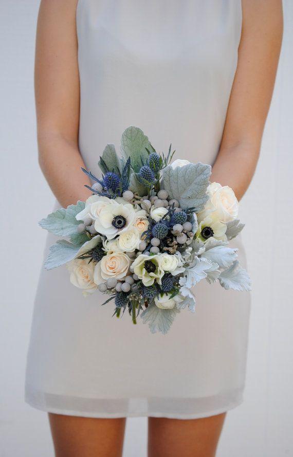 DIY Wedding Flower Package, Anemones, Blue Wedding, Dusty Miller, Ranunculus, Bridal Bouquet Navy, Grey Wedding