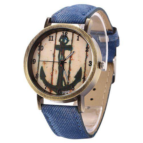 Orologio da polso Unisex, analogico, al quarzo, effetto anticato, motivo: ancora, quadrante color oro, cinturino blu jeans