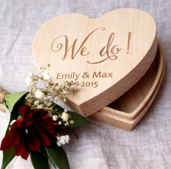Ring bearer box heart ring box We Do box by CorkCountryCottage