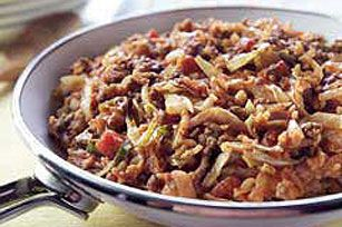 Unstuffed Cabbage Skillet recipe...had this last night (4/16).  Really good, the boys even liked it! I used a bag of slaw mix and real rice (not instant),   went a lot quicker...