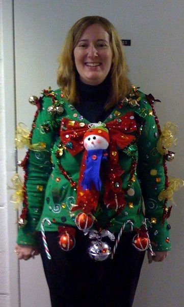 My creation for Tacky Sweater Contest at my school. We drew names and made the sweater for the person we picked. They HAD to wear it to school, or be disqualified. Haha..