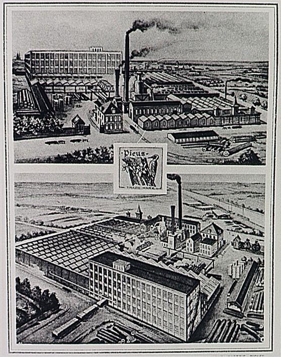 Tongelresestraat/panden/Picus twee overzichten van het complex en het bedrijfsmerk van de N.V. Houtindustrie Picus v/h J. Bruning en Zoon, fabriek van triplexplaten en sigarenkisten - 1918