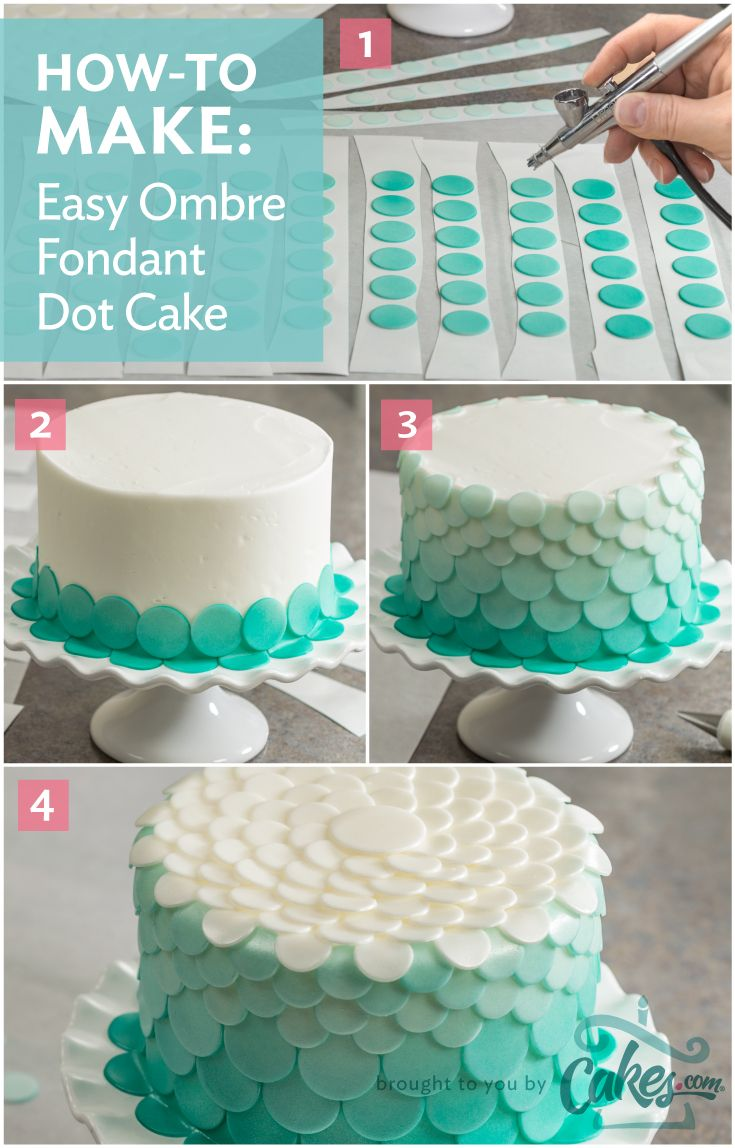 Airbrush each layer of fondant dots slightly lighter than the previous layer to create an amazing ombre cake.