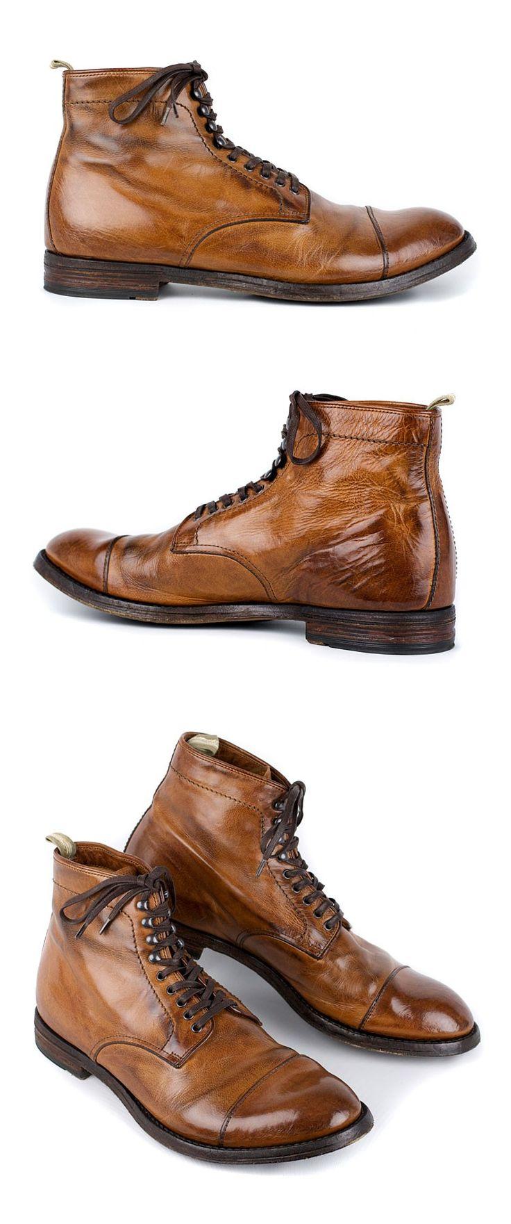 Officine Creative Anatomia 16 Men's Lace-up Boot - Cognac   resoul.com