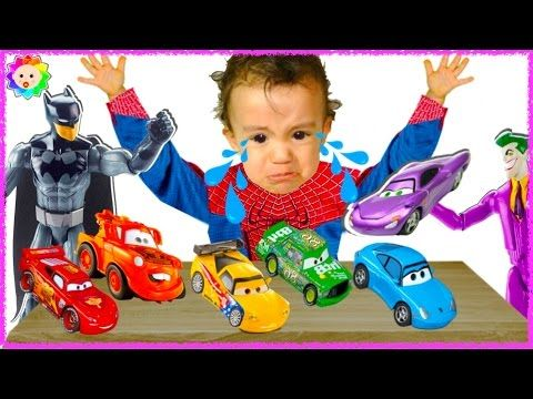 Spider Baby crying & learn colors w/ Disney Cars Batman Superhero vs Bad...