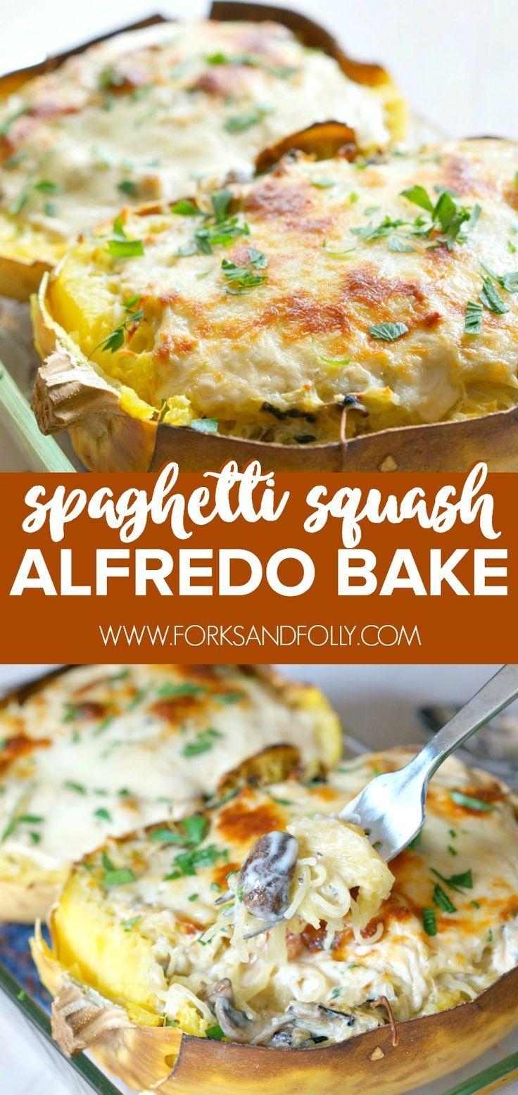 Spaghetti Squash Alfredo Bake With Mushrooms Forks And Folly Recipe Baked Spaghetti Squash Spaghetti Squash Spaghetti Squash Alfredo