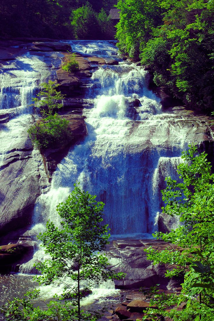 High Falls waterfall at DuPont State Forest in the North Carolina mountains