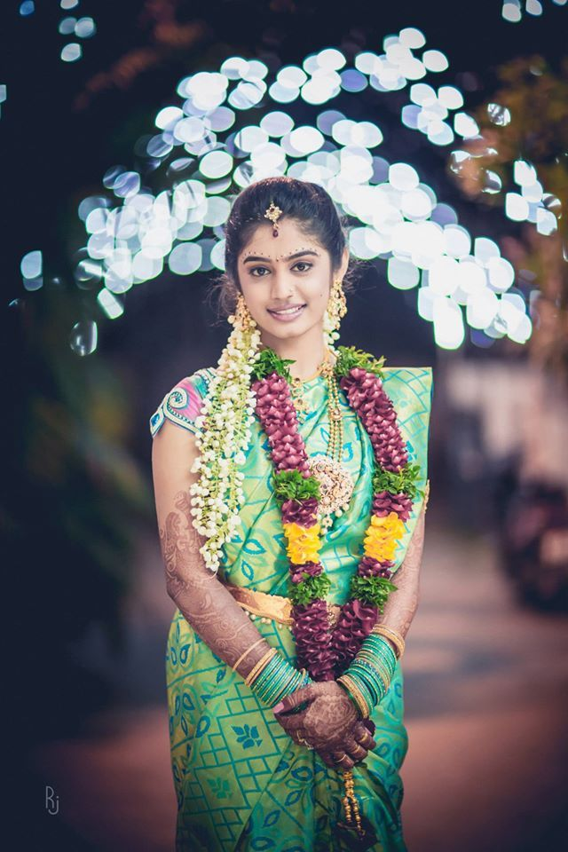 Beautiful Young Bride in Turquoise and Pale Green Saree