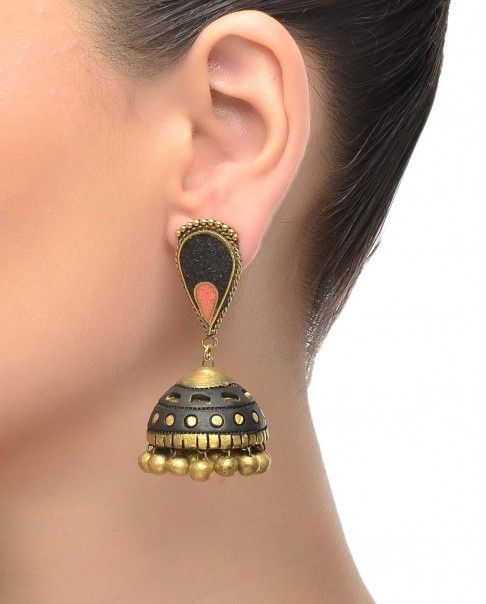 Black Terracotta Jhumka Earrings - Maatikaar - Designers