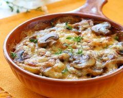 Gratin de poisson- champignons , crème allégée 5%