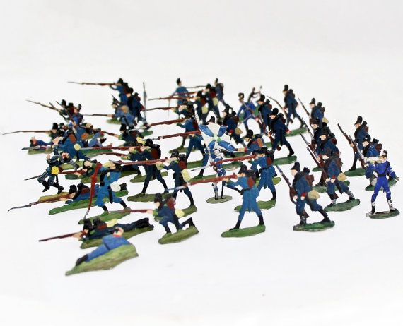 48 Antique German Tin Soldiers Lead Soldiers Bavarian Army / Heinrichsen Germany