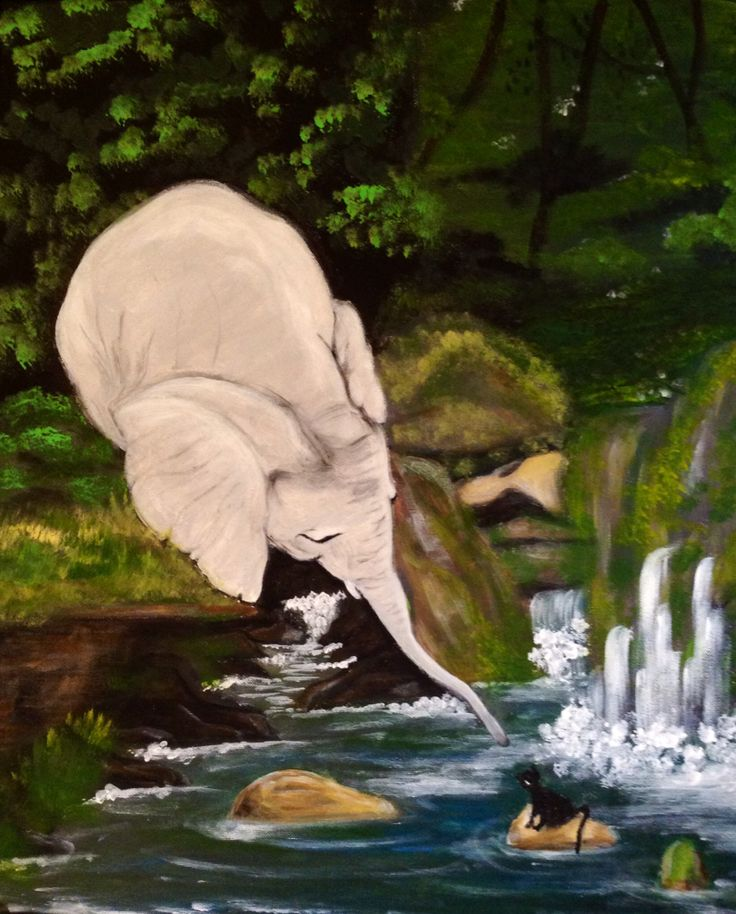 Elephant and little catty, by Lucie Nguyen, 80X60cm acrylic on canvas
