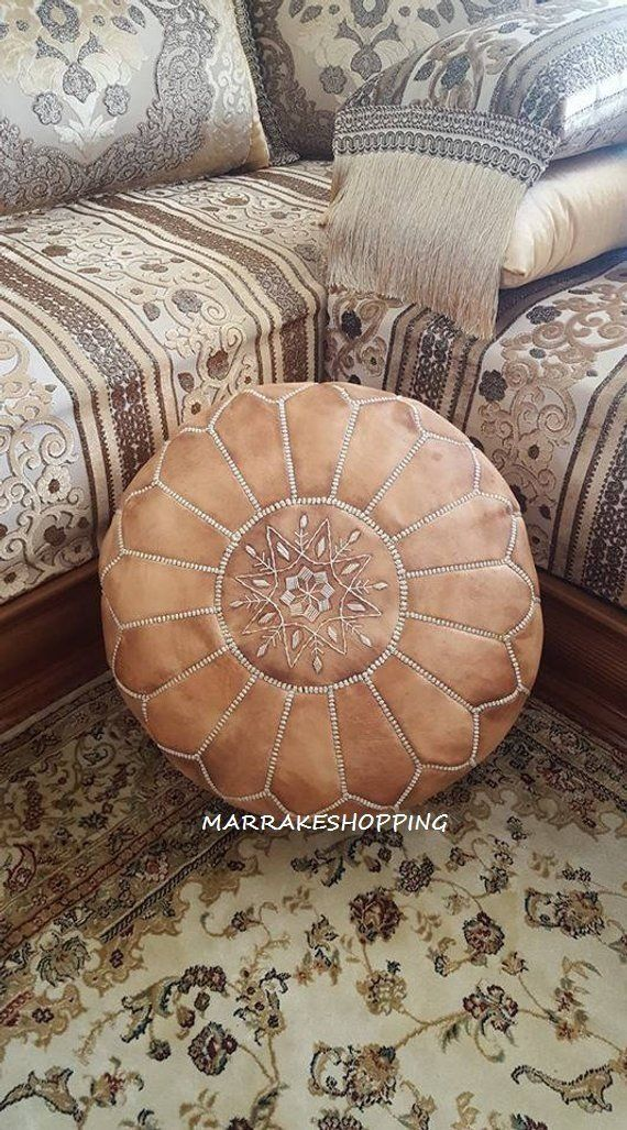 Moroccan Handcrafted Leather Pouf Ottoman Leather Pouf Light Brown