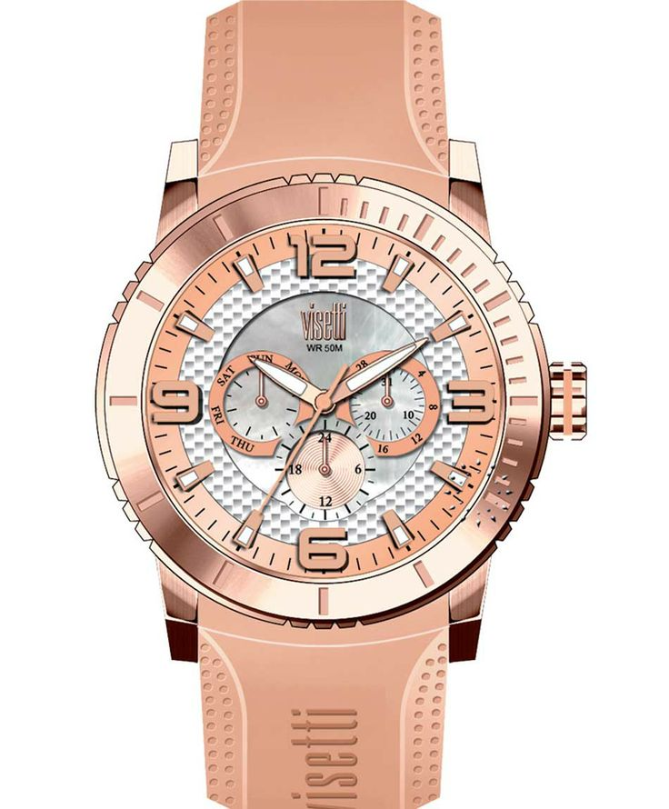 VISETTI New Era Rose Gold Beige Rubber Strap Μοντέλο: PE-750RS Τιμή: 120€ http://www.oroloi.gr/product_info.php?products_id=39498