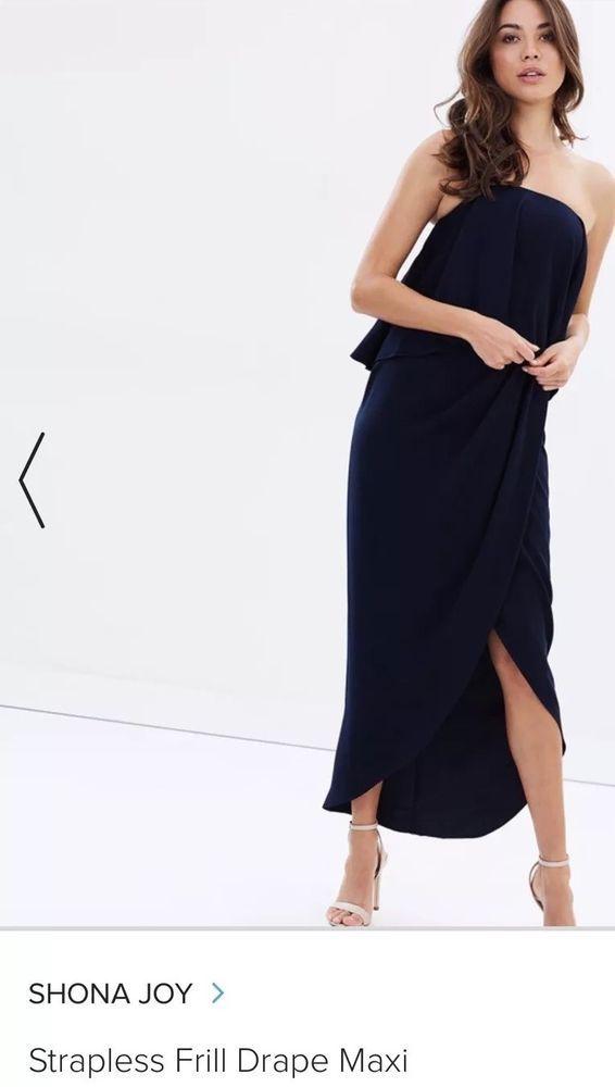 e4d4e3fc1961 Bridesmaid Shona joy CORE STRAPLESS FRILL DRESS - NAVY - AU 8 #fashion  #clothing #shoes #accessories #womensclothing #dresses (ebay link)