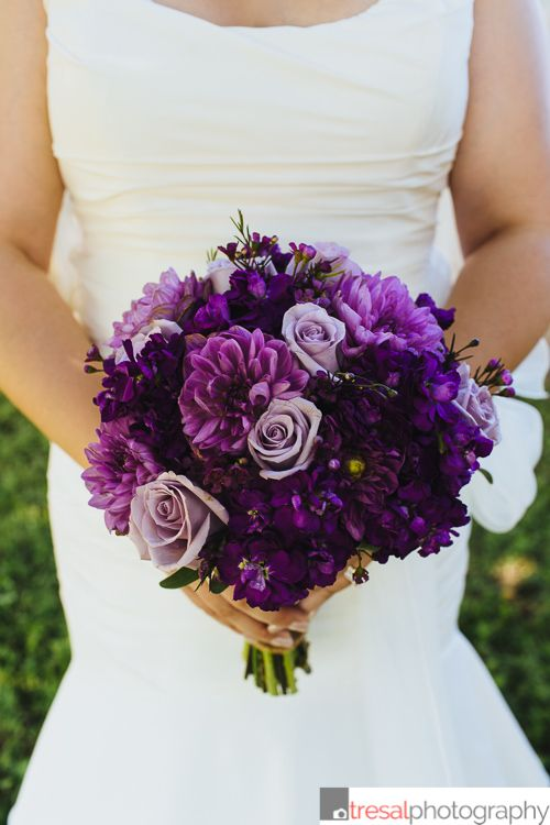 Bridal Bouquet Made At Heb Blooms In San Antonio Tx Consists Of Purple Dahlias Roses And Filler Flowers Tresal