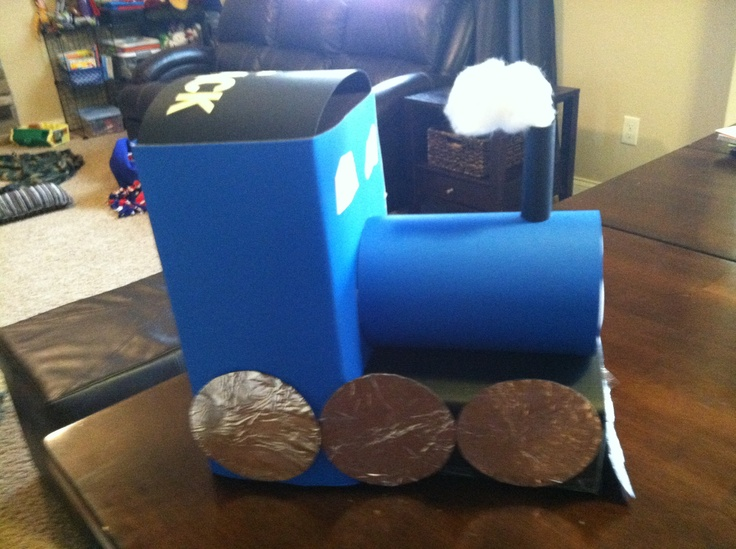 Thomas the Train valentines box. Upright Kleenex box, bottom is thin mint  box and round is half a Puffs container. Cover in construction paper.