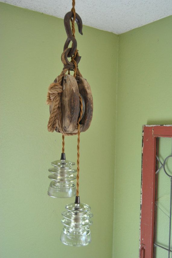 Wooden pulley glass insulator hanging light by BriarPatchSalvage