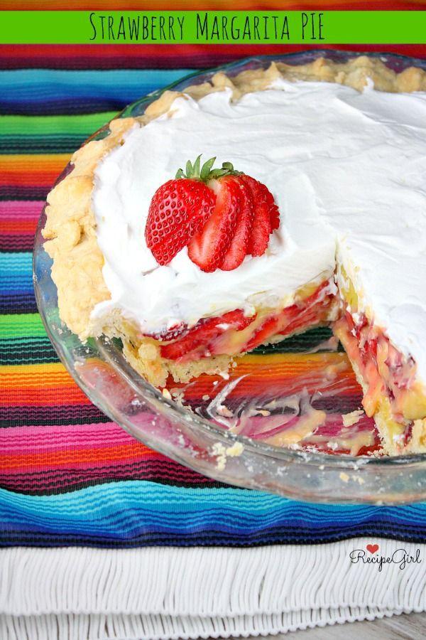 Strawberry Margarita Pie #recipe - RecipeGirl.com @RecipeGirl {recipegirl.com}