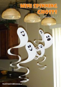 Mini Spinning Ghosts and Free Pattern Cardboard Spinning Ghosts with free Patterns--These are so easy and cheap! If you have cardstock on hand, they're free! (I've included a printable for tiny ghosts.) #ghost #halloween #printable