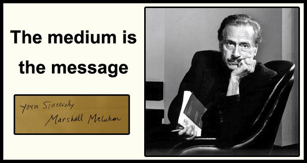 """reaction to marshall mcluhans medium is Marshall mcluhan was a visionary, far ahead of his time the canadian was a philosopher and professor but could perhaps be best described as a communications theorist the book is actually called """"the medium is the massage"""" due to a mistake from the typesetters, but when mcluhan saw the error, he loved it and kept it as it was."""