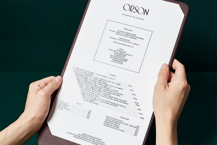 We Love Menus. Orson. Restaurant Menu Design. Design by www.anagrama.com