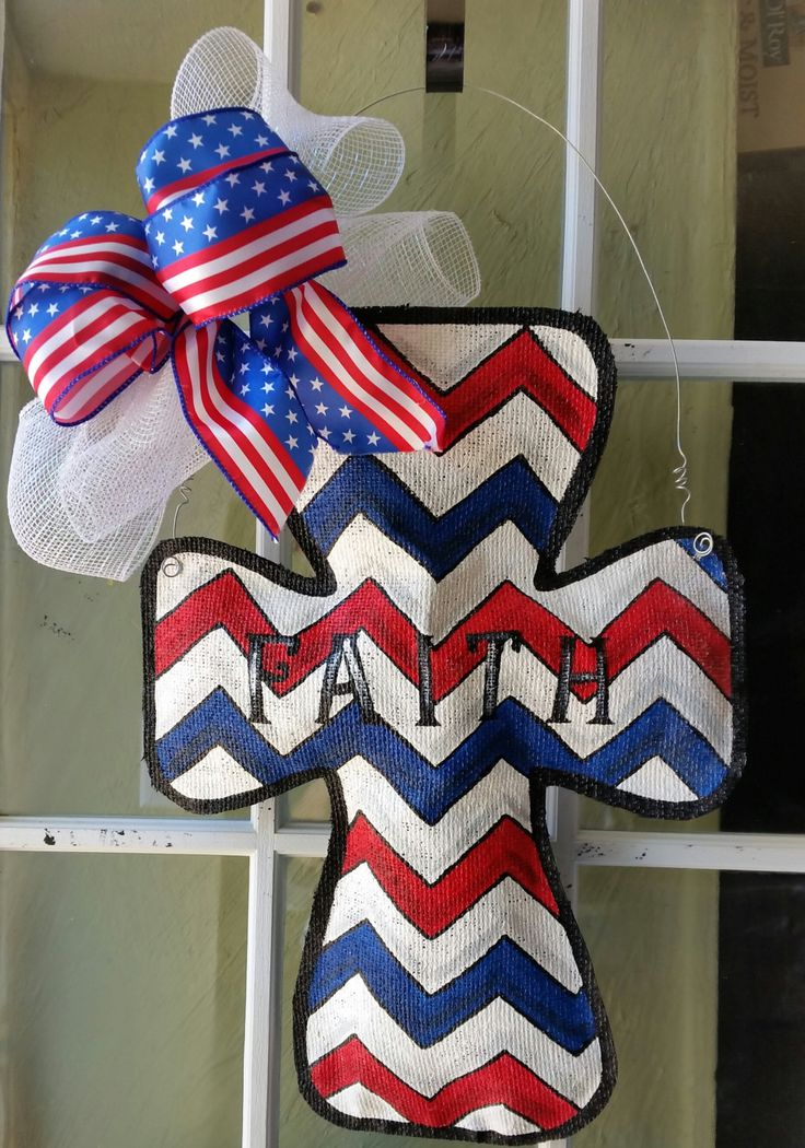 Cross burlap door hanging, patriotic decorations, Hand painted burlap door hangers, door decorations, holiday decorations, by ConnieRisleyCrafts on Etsy https://www.etsy.com/listing/222538268/cross-burlap-door-hanging-patriotic