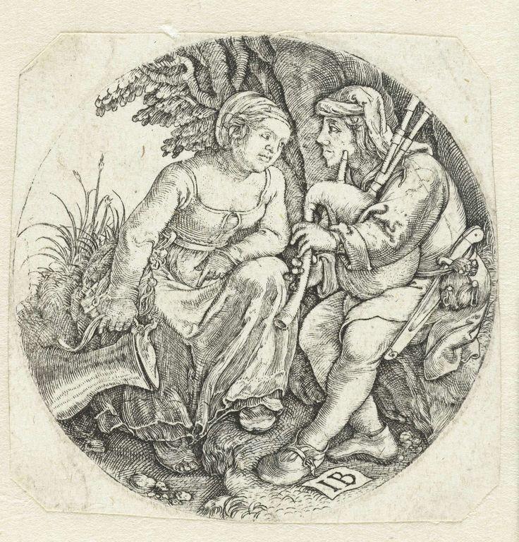 Doedelzakspeler en jonge vrouw, Monogrammist IB (16e eeuw), 1525