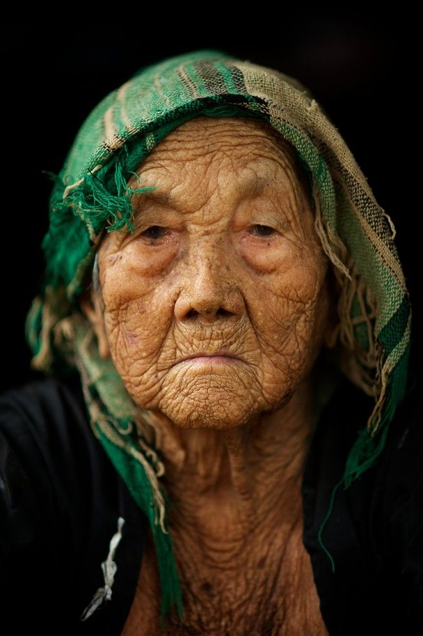 very old woman - 120 years from Hmong village on the Mekong river - in Laos. wow!
