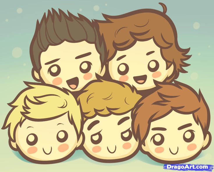 one direction drawing | How to Draw Chibi One Direction, One Direction Boys, Step by Step ...