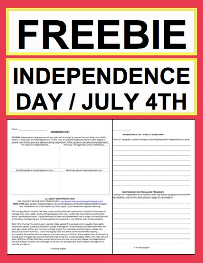 """Independence Day Activities: Free Printables: Free NO PREP Independence Day student printables. Simply print, project & teach this Independence Day / July 4th!! All you have to do is print the included article link. File includes link to Fourth of July History & Traditions Article, Informational Paragraph Reading Response, Informational Paragraph Writing Prompt, Informational """"How To: Paragraph Writing Prompt, Persuasive Paragraph Writing Prompt, Creative Paragraph Writing Prompt, Holiday…"""