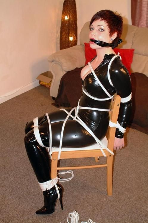 Chair Tied And Cleave Gag  Latex Bondage Collection -7627