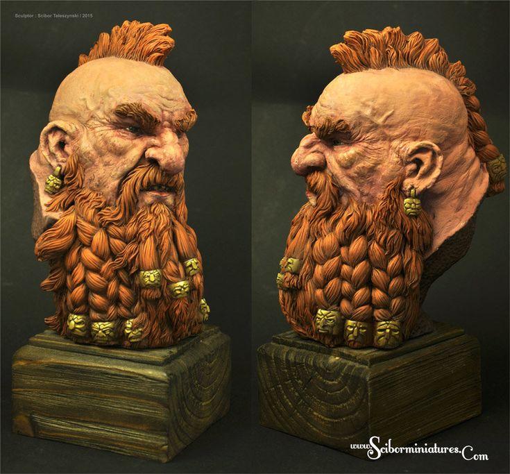 Dwarf Bust - sculpture, Scibor Teleszynski on ArtStation at https://www.artstation.com/artwork/dwarf-bust-sculpture-695c6c52-e527-46e2-a863-be13b76b7756