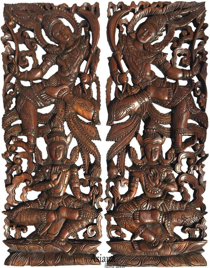 "Traditional Thai Figure Carved Wood Wall Decor Panels. Asian Home Decor. Wood Carving Sculpture. Dark Brown Finish 35.5""x13.5""x1"". Set of 2 pcs"