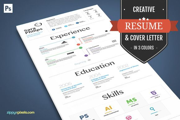 Creative Resume And Cover Letter by ZippyPixels on Creative Market