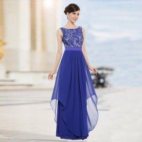 Safírově modré společenské šaty s krajkou - Ever-Pretty