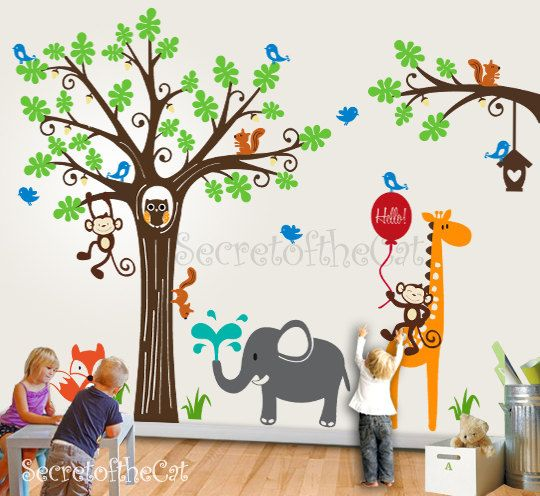 Delightful Tree Wall Decal Baby Decals Kid Playroom Wall By Secretofthecat, $185.00 Part 6