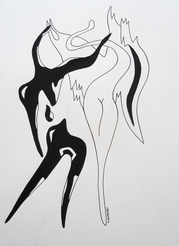 Angel and devil (Black), acrylic on artistic paper, 30x40 cm from artist Peter Vamosi.