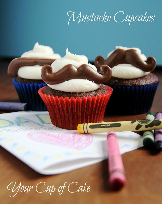 Mustache Cupcakes #FathersDay #baking #recipe