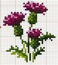 Cross-stitch thistle pattern