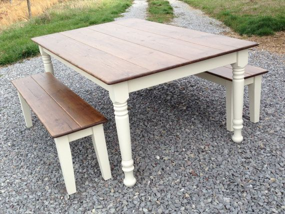Elegant Farmhouse Table Bench Rustic Farm Wood Kitchen Dining Room