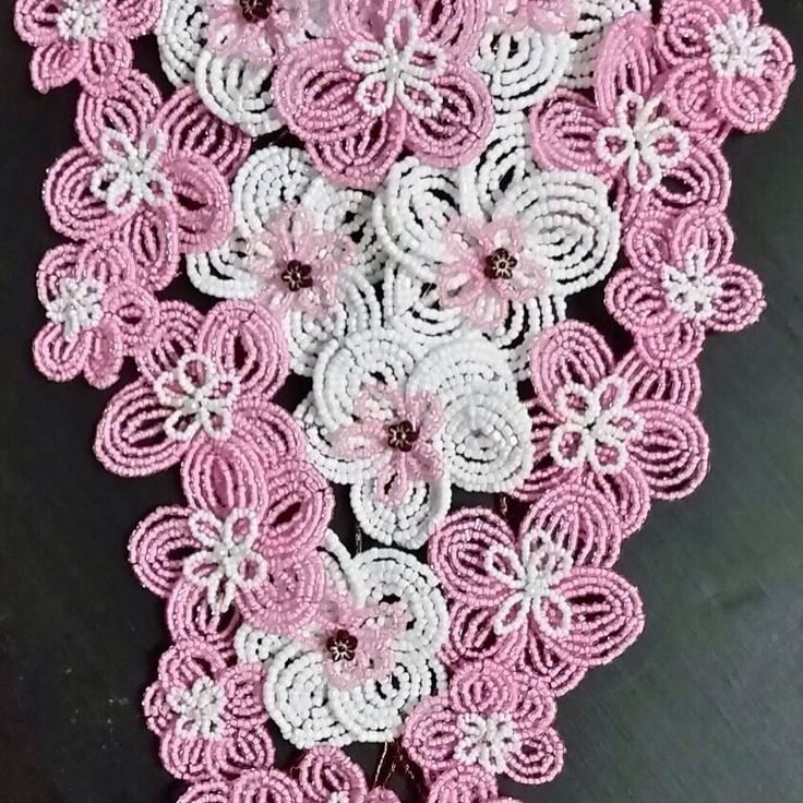 Pink and white French beaded flowers