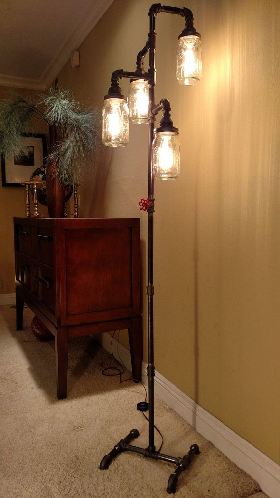 Pipe Floor Lamp 4 Fixture Living Room Steampunk Mason Jar DOES NOT Include  Bulbs