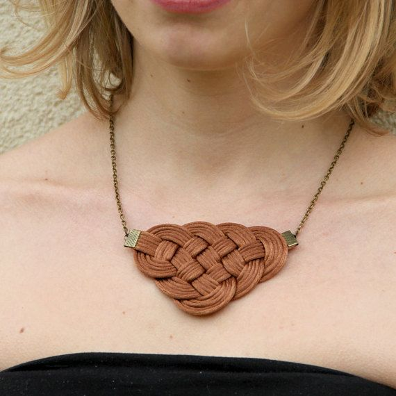 Brown knot satin rope statement necklace by SophiesKnotShop