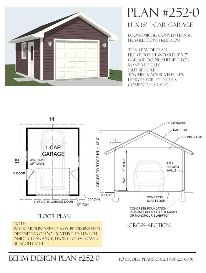 1 Car 14 Wide Garage Plan With One Story 252 0 14 X 18 Garage Plans Garage Plans Detached Building A Garage