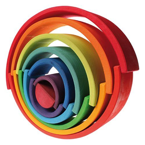 Grimm's Extra Large 12-Piece Rainbow Stacker - Wooden Nesting Puzzle/Creative Building Blocks