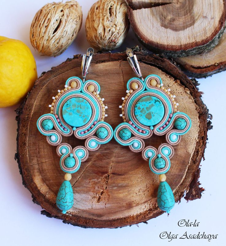 "Collection ""Captivated by Turquoise"" Earrings ""Celestial Turquoise"" Sewing embroidery, natural turquoise, Hovlita, Japanese beads, glass beads"